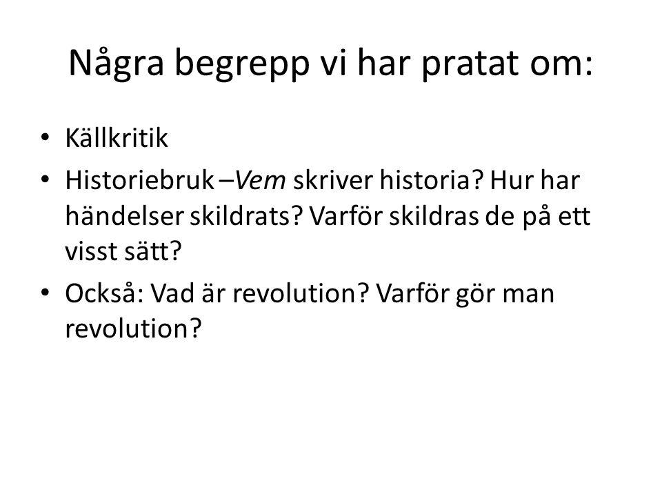 Några begrepp vi har pratat om: Källkritik Historiebruk –Vem skriver historia.