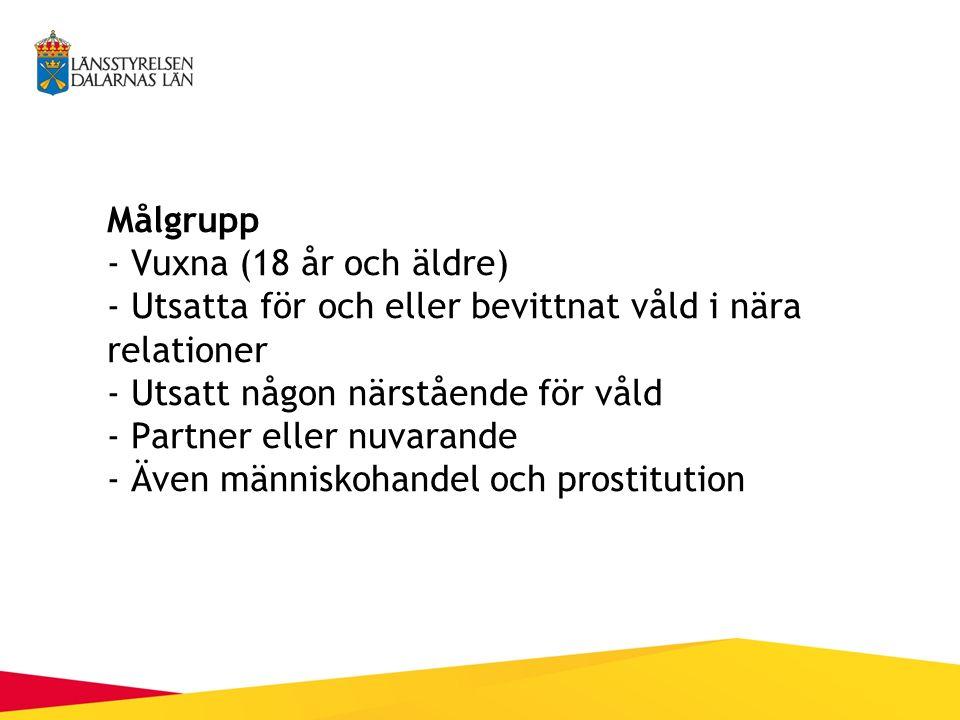 Målgrupp - Vuxna (18 år och äldre) - Utsatta för och eller bevittnat våld i nära relationer - Utsatt någon närstående för våld - Partner eller nuvarande - Även människohandel och prostitution