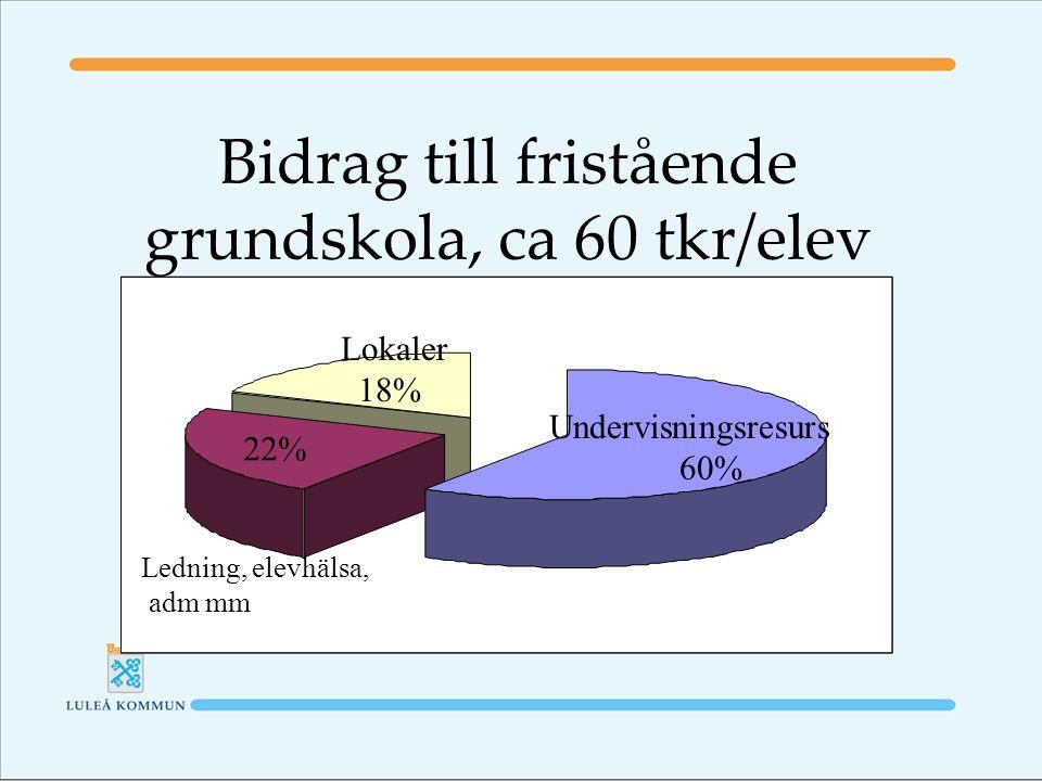 Bidrag till fristående grundskola, ca 60 tkr/elev Undervisningsresurs 60% Lokaler 18% Ledning, elevhälsa, adm mm 22%