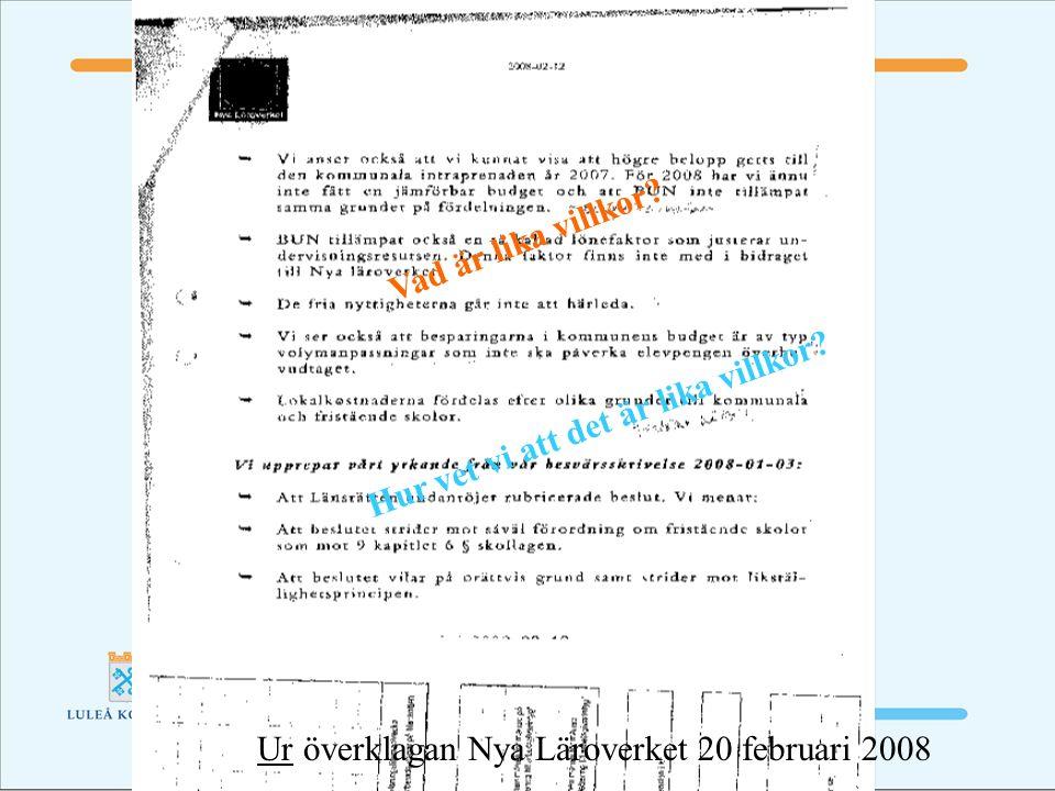 Ur överklagan Nya Läroverket 20 februari 2008 Vad är lika villkor.