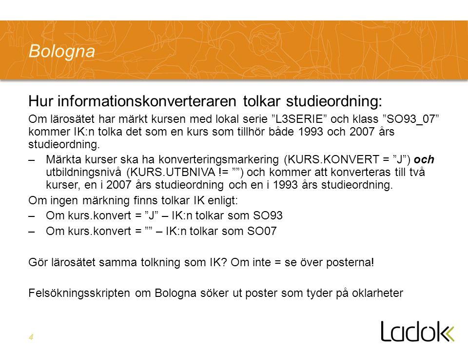 4 Bologna Hur informationskonverteraren tolkar studieordning: Om lärosätet har märkt kursen med lokal serie L3SERIE och klass SO93_07 kommer IK:n tolka det som en kurs som tillhör både 1993 och 2007 års studieordning.