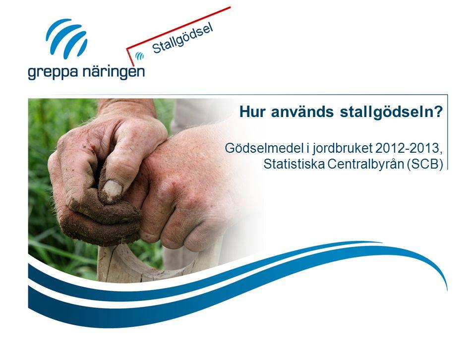 Hur används stallgödseln Gödselmedel i jordbruket 2012-2013, Statistiska Centralbyrån (SCB)