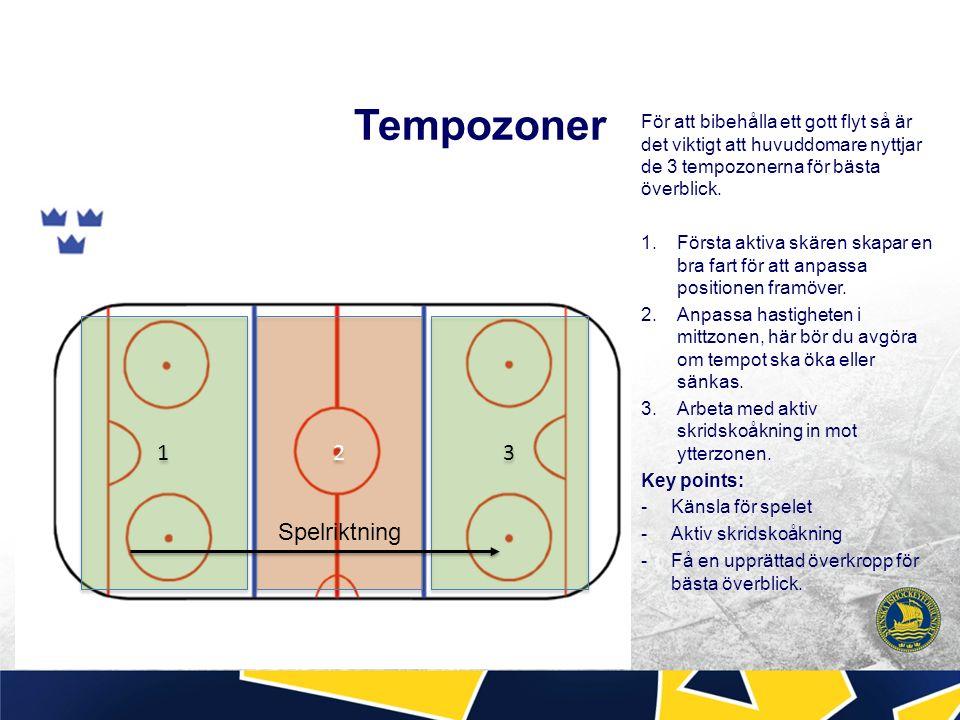 Tempozoner För att bibehålla ett gott flyt så är det viktigt att huvuddomare nyttjar de 3 tempozonerna för bästa överblick.