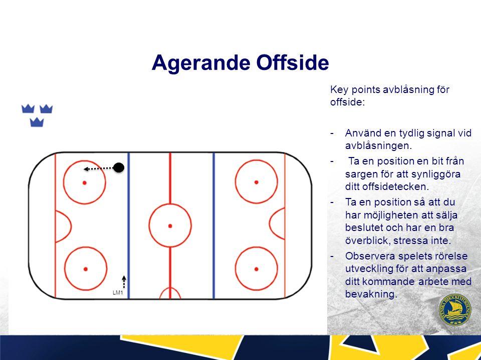 Agerande Offside Key points avblåsning för offside: -Använd en tydlig signal vid avblåsningen.