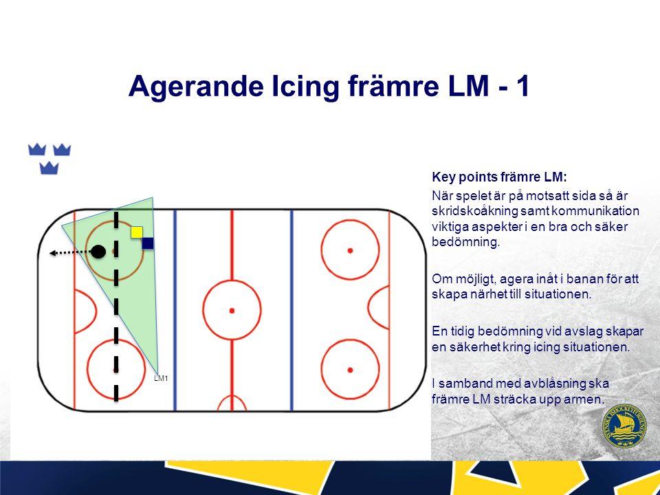 Agerande Icing främre LM - 1 Key points främre LM: När spelet är på motsatt sida så är skridskoåkning samt kommunikation viktiga aspekter i en bra och säker bedömning.