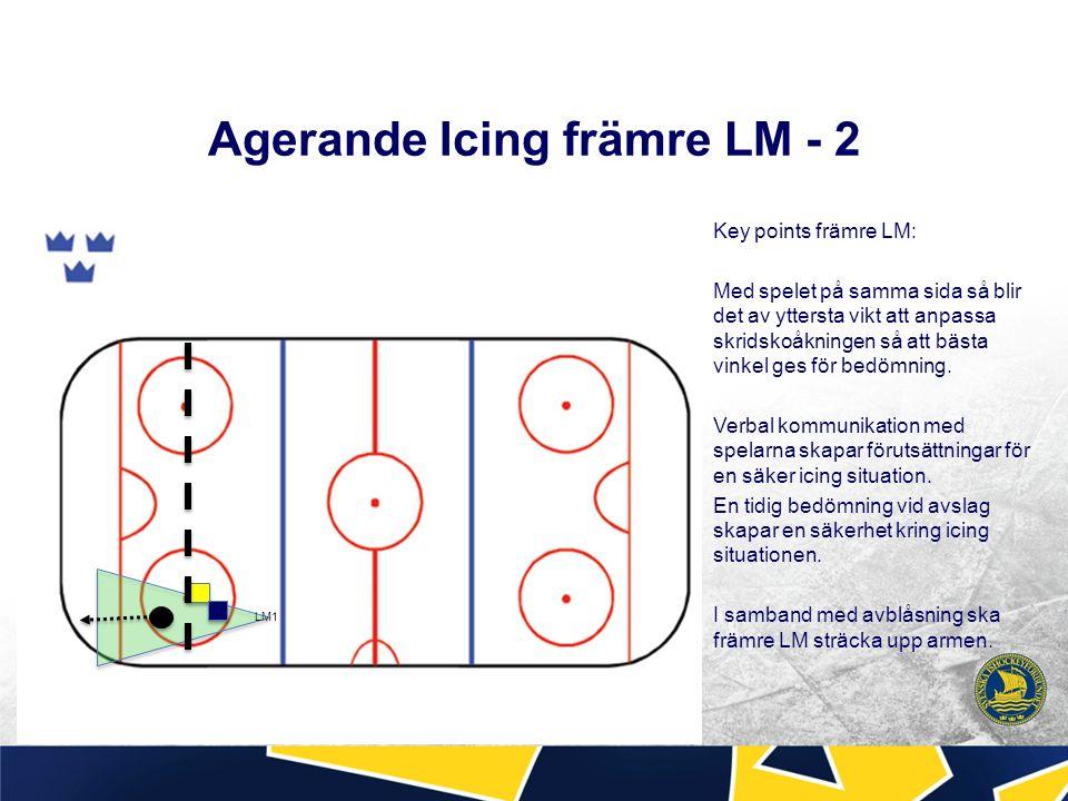 Agerande Icing främre LM - 2 Key points främre LM: Med spelet på samma sida så blir det av yttersta vikt att anpassa skridskoåkningen så att bästa vinkel ges för bedömning.