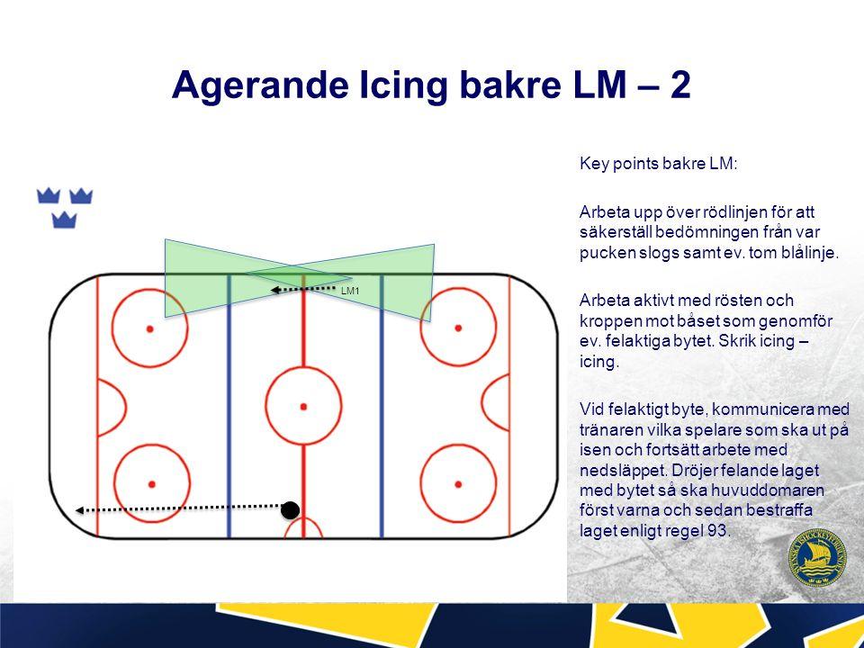 Agerande Icing bakre LM – 2 Key points bakre LM: Arbeta upp över rödlinjen för att säkerställ bedömningen från var pucken slogs samt ev.