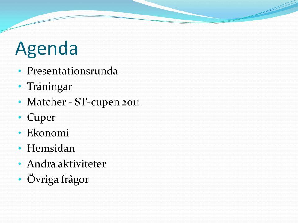 Agenda Presentationsrunda Träningar Matcher - ST-cupen 2011 Cuper Ekonomi Hemsidan Andra aktiviteter Övriga frågor