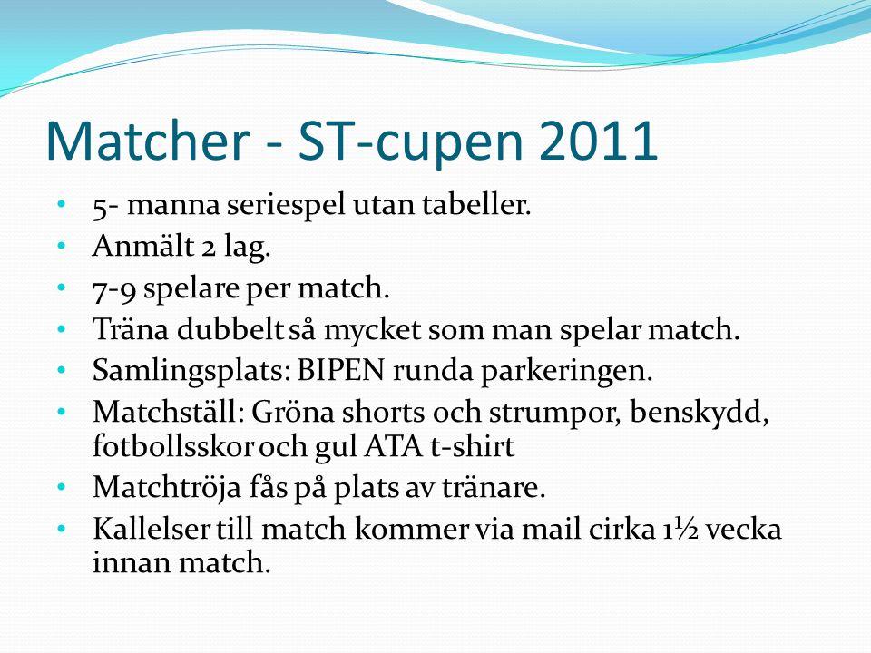 Matcher - ST-cupen 2011 5- manna seriespel utan tabeller.