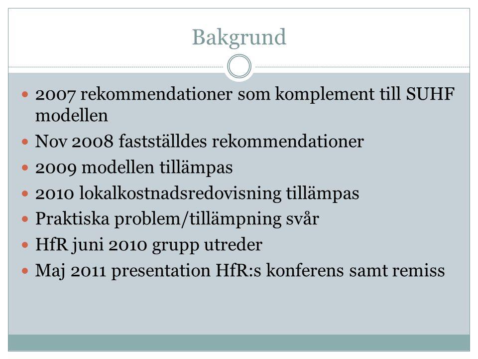 Bakgrund 2007 rekommendationer som komplement till SUHF modellen Nov 2008 fastställdes rekommendationer 2009 modellen tillämpas 2010 lokalkostnadsredovisning tillämpas Praktiska problem/tillämpning svår HfR juni 2010 grupp utreder Maj 2011 presentation HfR:s konferens samt remiss
