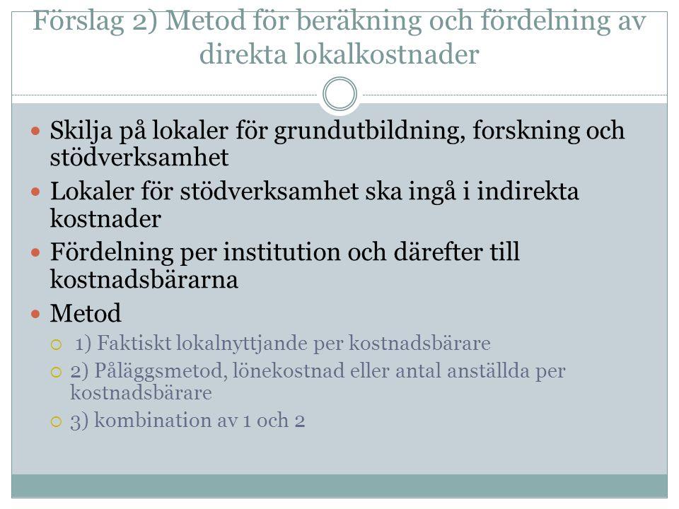 Förslag 2) Metod för beräkning och fördelning av direkta lokalkostnader Skilja på lokaler för grundutbildning, forskning och stödverksamhet Lokaler för stödverksamhet ska ingå i indirekta kostnader Fördelning per institution och därefter till kostnadsbärarna Metod  1) Faktiskt lokalnyttjande per kostnadsbärare  2) Påläggsmetod, lönekostnad eller antal anställda per kostnadsbärare  3) kombination av 1 och 2
