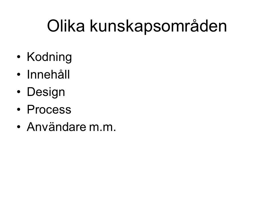 Olika kunskapsområden Kodning Innehåll Design Process Användare m.m.