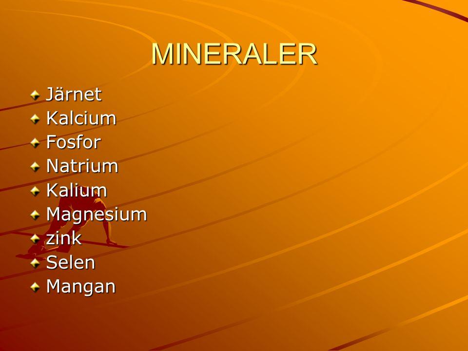 MINERALER JärnetKalciumFosforNatriumKaliumMagnesiumzinkSelenMangan