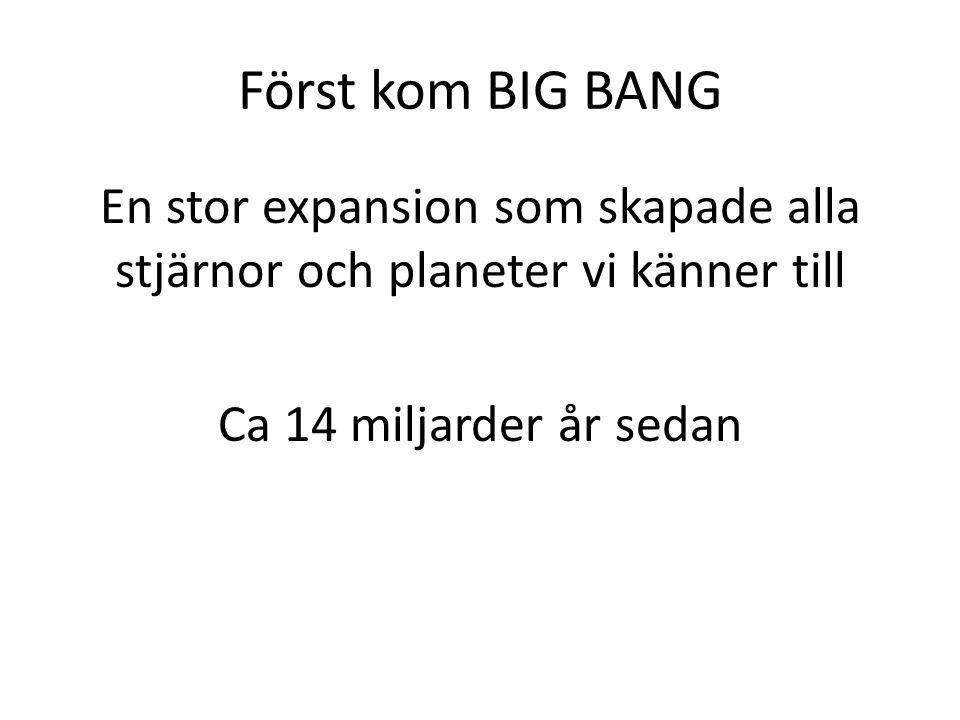 Först kom BIG BANG En stor expansion som skapade alla stjärnor och planeter vi känner till Ca 14 miljarder år sedan