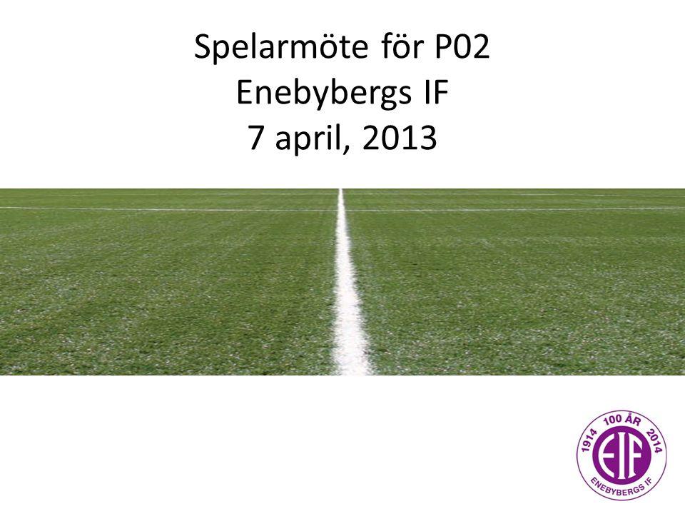 Spelarmöte för P02 Enebybergs IF 7 april, 2013