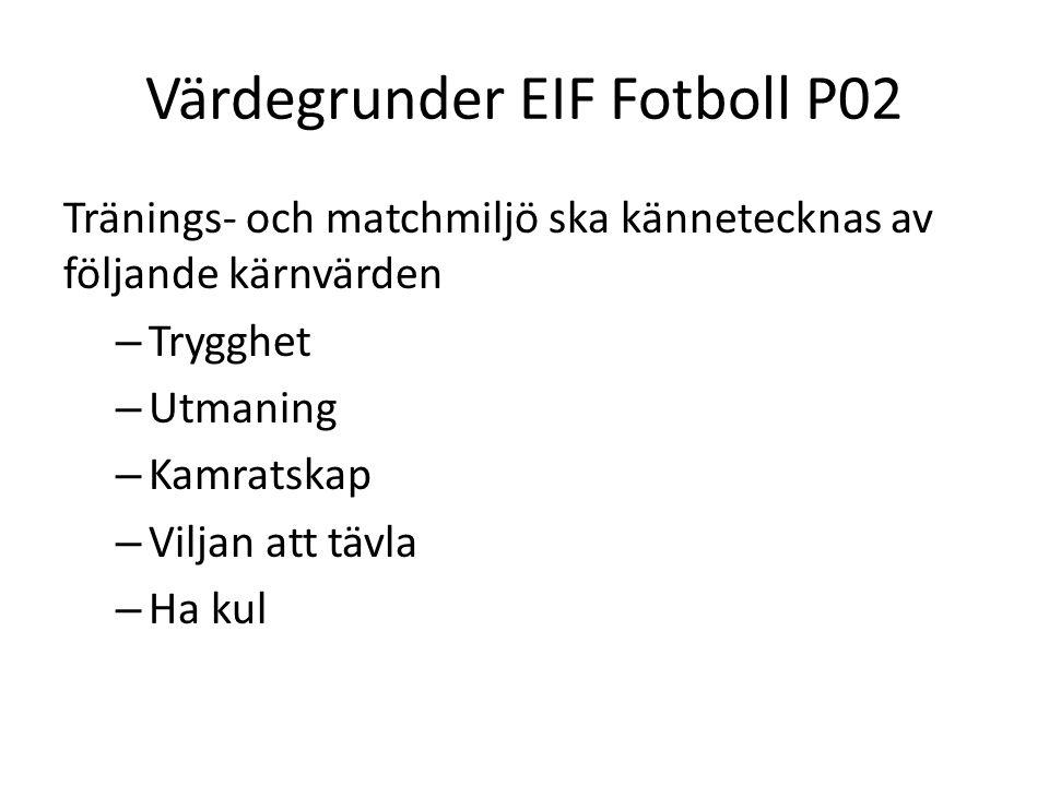 Värdegrunder EIF Fotboll P02 Tränings- och matchmiljö ska kännetecknas av följande kärnvärden – Trygghet – Utmaning – Kamratskap – Viljan att tävla –