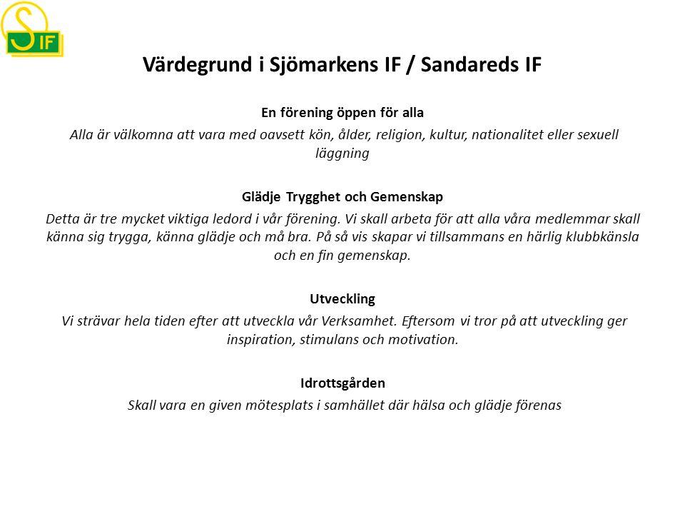 Värdegrund i Sjömarkens IF / Sandareds IF En förening öppen för alla Alla är välkomna att vara med oavsett kön, ålder, religion, kultur, nationalitet