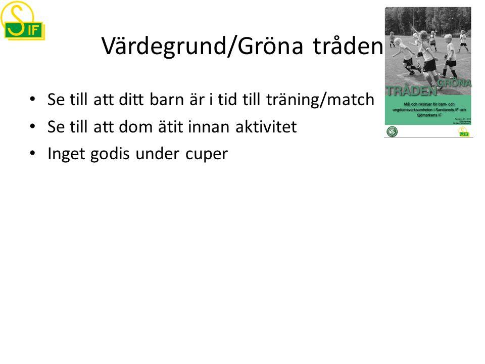 Värdegrund/Gröna tråden Se till att ditt barn är i tid till träning/match Se till att dom ätit innan aktivitet Inget godis under cuper