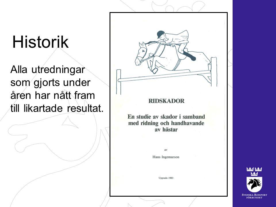 Skadefrekvens (skattad) 13.000 per år uppsöker sjukvård till följd av händelser som inträffat med någon av Sveriges 360.000 hästar, dvs.