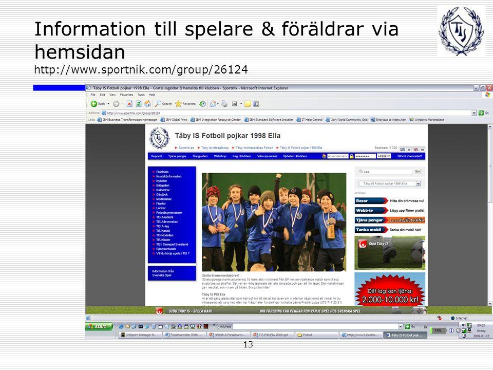 13 Information till spelare & föräldrar via hemsidan http://www.sportnik.com/group/26124