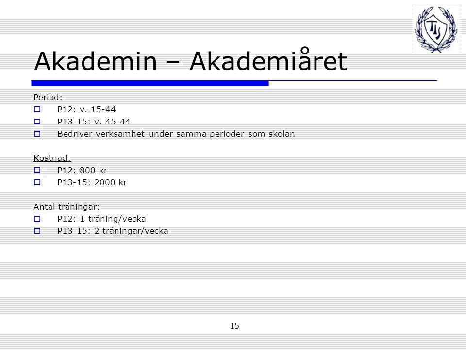 15 Akademin – Akademiåret Period:  P12: v. 15-44  P13-15: v.