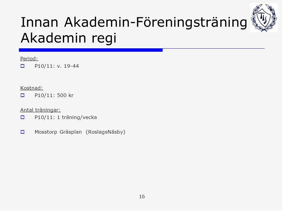 16 Innan Akademin-Föreningsträning Akademin regi Period:  P10/11: v.