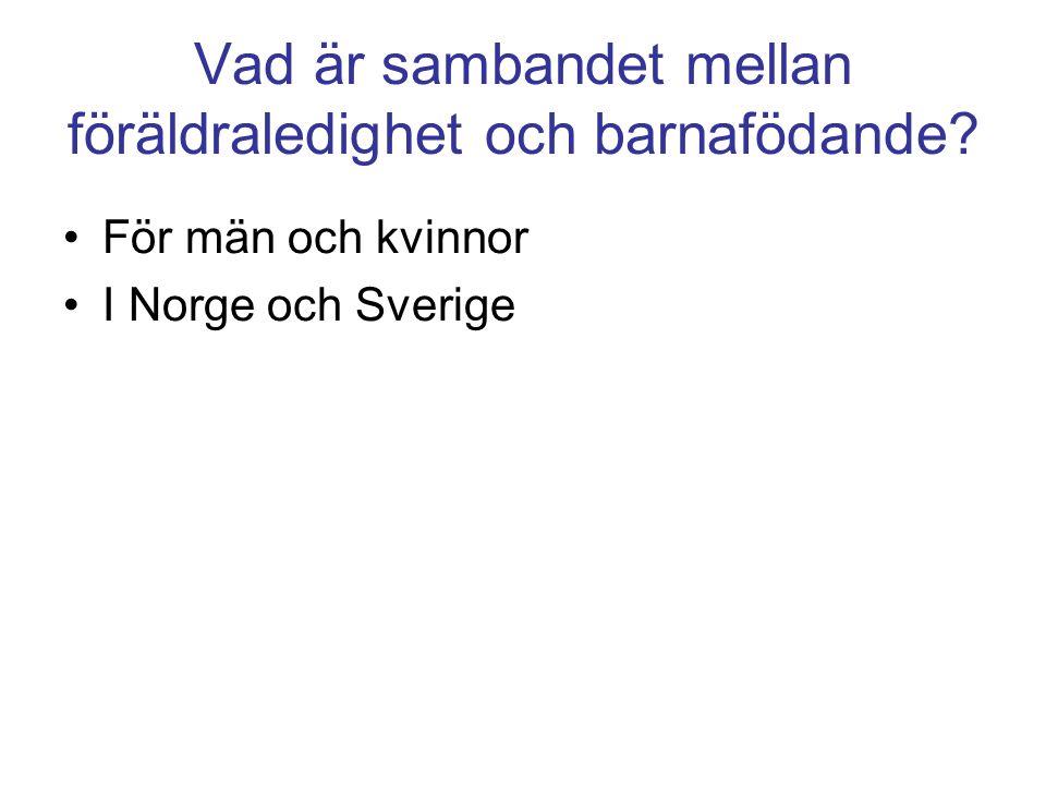 Vad är sambandet mellan föräldraledighet och barnafödande För män och kvinnor I Norge och Sverige