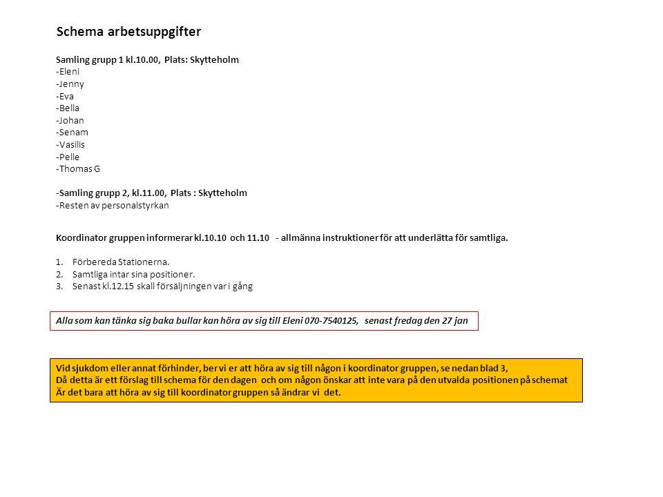 Schema arbetsuppgifter Samling grupp 1 kl.10.00, Plats: Skytteholm -Eleni -Jenny -Eva -Bella -Johan -Senam -Vasilis -Pelle -Thomas G -Samling grupp 2, kl.11.00, Plats : Skytteholm -Resten av personalstyrkan Koordinator gruppen informerar kl.10.10 och 11.10 - allmänna instruktioner för att underlätta för samtliga.