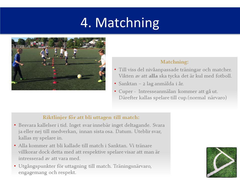 4. Matchning Riktlinjer för att bli uttagen till match: Besvara kallelser i tid. Inget svar innebär inget deltagande. Svara ja eller nej till medverka