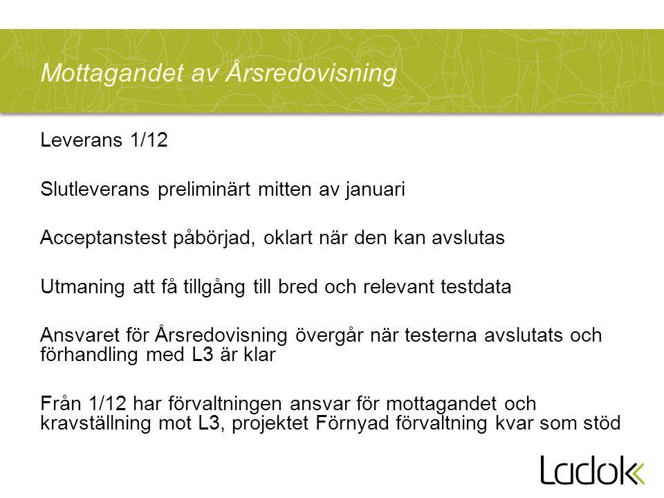 Mottagandet av Årsredovisning Leverans 1/12 Slutleverans preliminärt mitten av januari Acceptanstest påbörjad, oklart när den kan avslutas Utmaning att få tillgång till bred och relevant testdata Ansvaret för Årsredovisning övergår när testerna avslutats och förhandling med L3 är klar Från 1/12 har förvaltningen ansvar för mottagandet och kravställning mot L3, projektet Förnyad förvaltning kvar som stöd