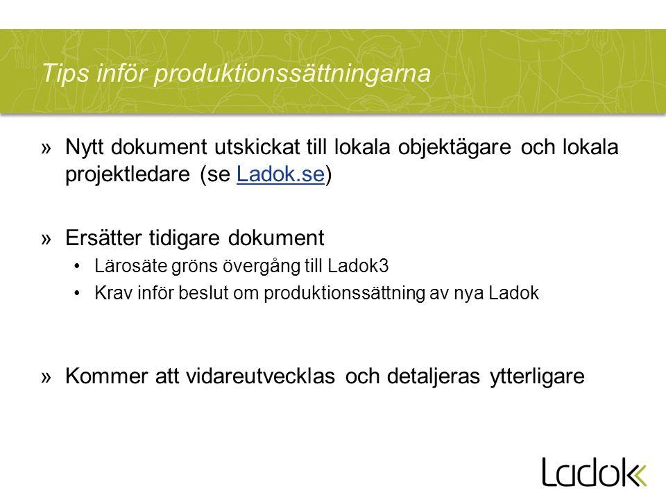 Tips inför produktionssättningarna »Nytt dokument utskickat till lokala objektägare och lokala projektledare (se Ladok.se)Ladok.se »Ersätter tidigare dokument Lärosäte gröns övergång till Ladok3 Krav inför beslut om produktionssättning av nya Ladok »Kommer att vidareutvecklas och detaljeras ytterligare