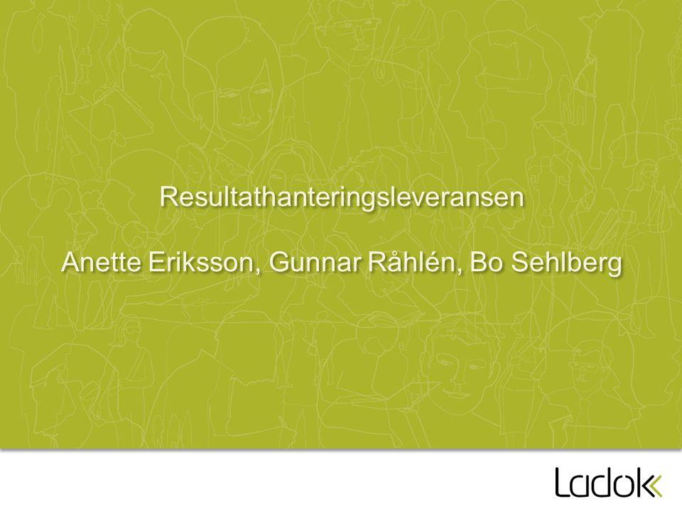 Resultathanteringsleveransen Anette Eriksson, Gunnar Råhlén, Bo Sehlberg