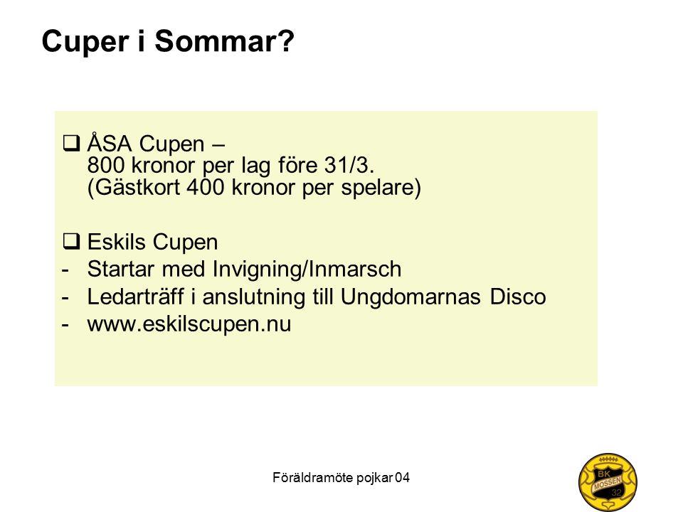Föräldramöte pojkar 04 Cuper i Sommar?  ÅSA Cupen – 800 kronor per lag före 31/3. (Gästkort 400 kronor per spelare)  Eskils Cupen -Startar med Invig