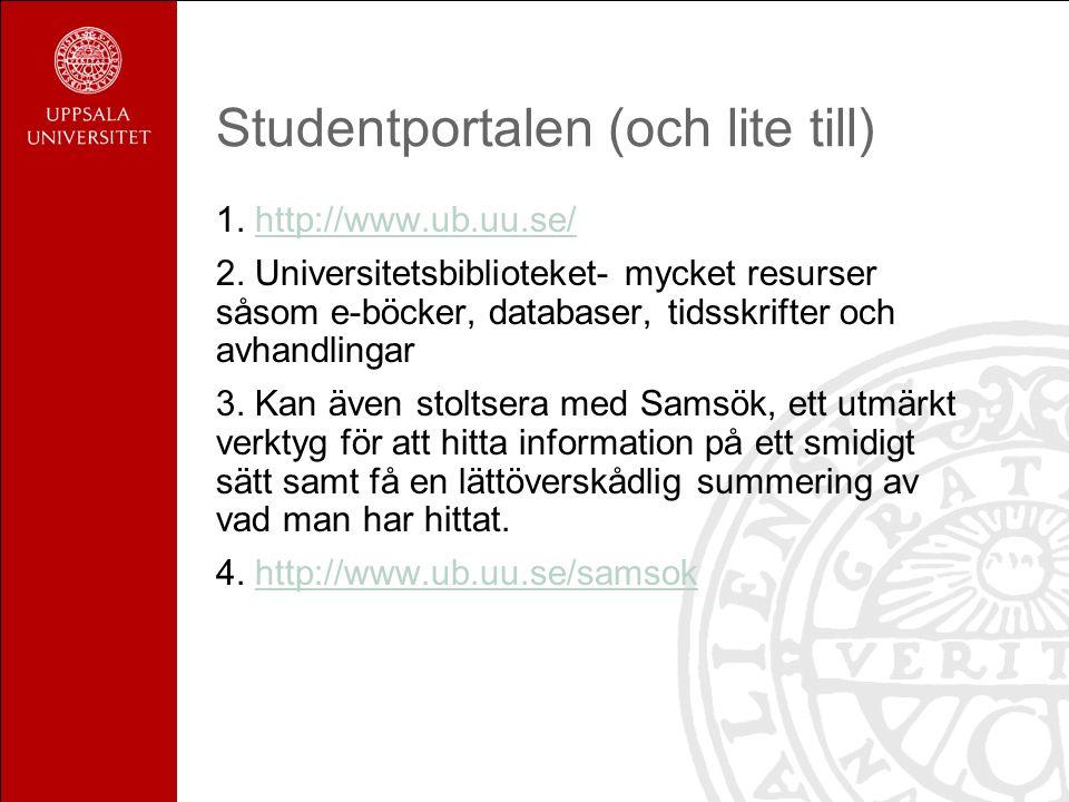 Studentportalen (och lite till) 1. http://www.ub.uu.se/http://www.ub.uu.se/ 2. Universitetsbiblioteket- mycket resurser såsom e-böcker, databaser, tid