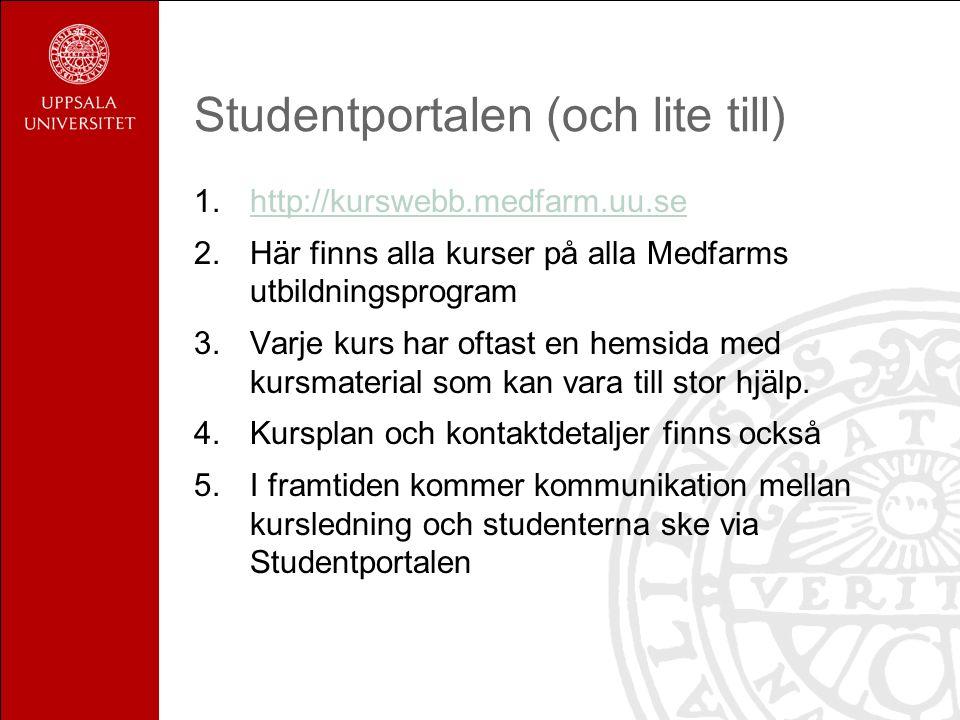 Studentportalen (och lite till) 1.http://kurswebb.medfarm.uu.sehttp://kurswebb.medfarm.uu.se 2.Här finns alla kurser på alla Medfarms utbildningsprogram 3.Varje kurs har oftast en hemsida med kursmaterial som kan vara till stor hjälp.