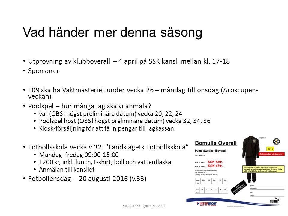 Vad händer mer denna säsong Utprovning av klubboverall – 4 april på SSK kansli mellan kl.