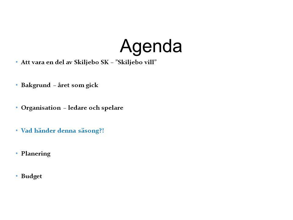 Agenda Att vara en del av Skiljebo SK – Skiljebo vill Bakgrund – året som gick Organisation – ledare och spelare Vad händer denna säsong .