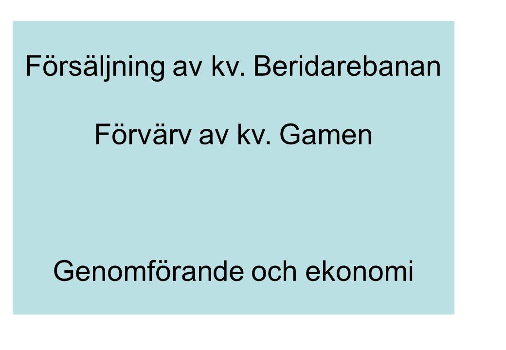 Försäljning av kv. Beridarebanan Förvärv av kv. Gamen Genomförande och ekonomi