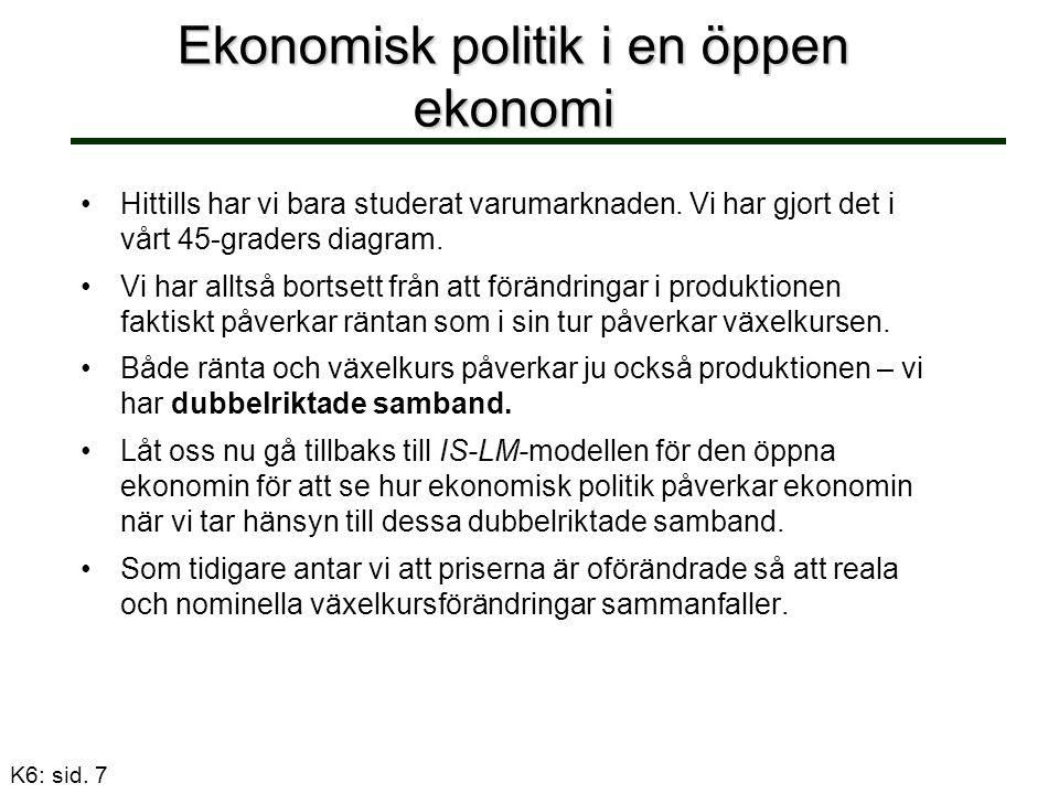 K6: sid.7 Ekonomisk politik i en öppen ekonomi Hittills har vi bara studerat varumarknaden.