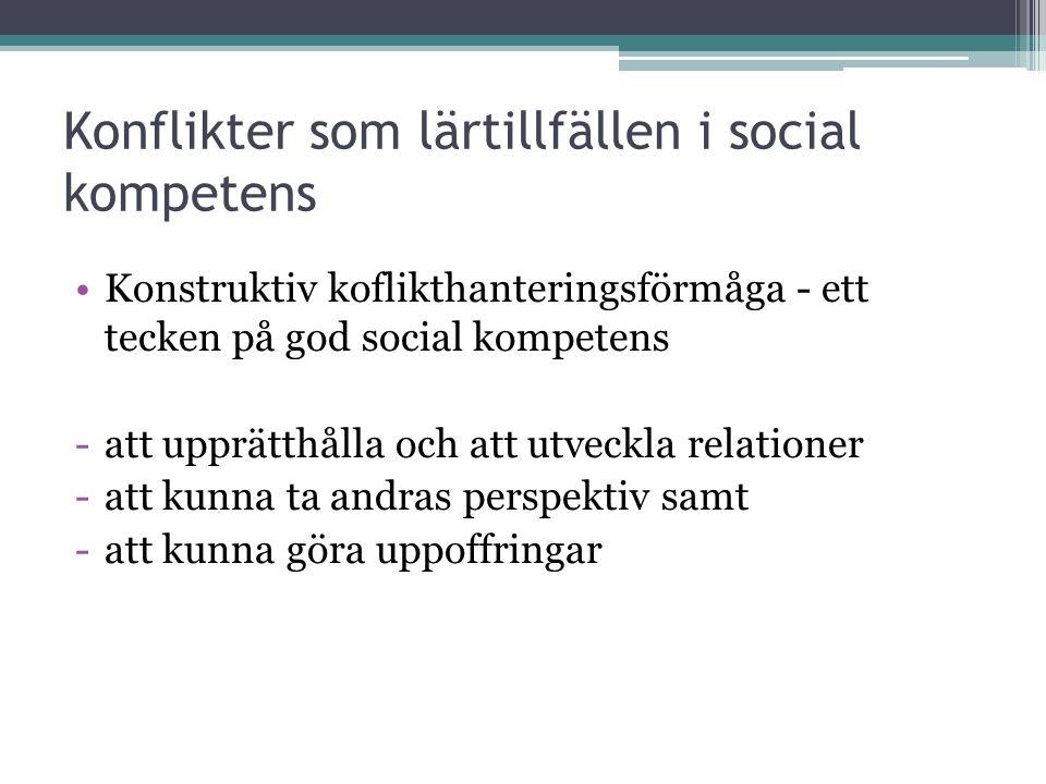Konflikter som lärtillfällen i social kompetens Konstruktiv koflikthanteringsförmåga - ett tecken på god social kompetens -att upprätthålla och att utveckla relationer -att kunna ta andras perspektiv samt -att kunna göra uppoffringar