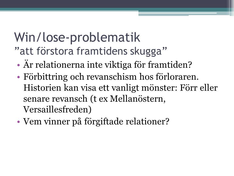 Win/lose-problematik att förstora framtidens skugga Är relationerna inte viktiga för framtiden.