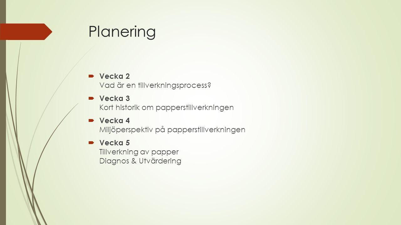 Planering  Vecka 2 Vad är en tillverkningsprocess.