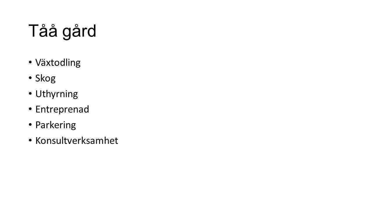 Tåå gård Växtodling Skog Uthyrning Entreprenad Parkering Konsultverksamhet