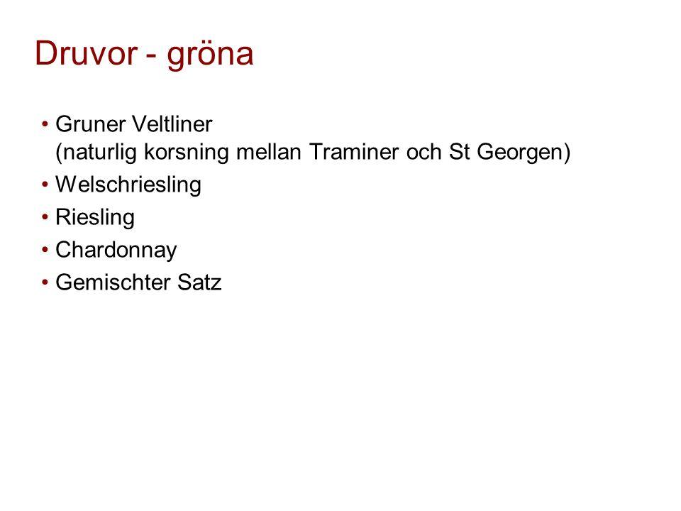 Druvor - gröna Gruner Veltliner (naturlig korsning mellan Traminer och St Georgen) Welschriesling Riesling Chardonnay Gemischter Satz
