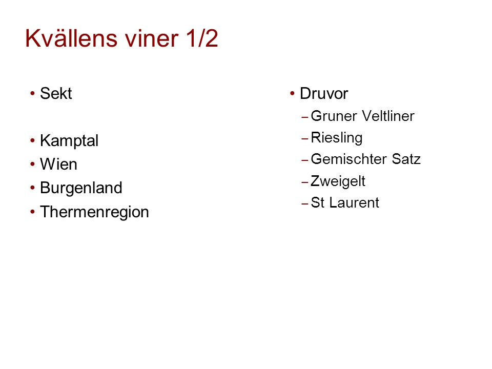 Kvällens viner 1/2 Sekt Kamptal Wien Burgenland Thermenregion Druvor ‒ Gruner Veltliner ‒ Riesling ‒ Gemischter Satz ‒ Zweigelt ‒ St Laurent