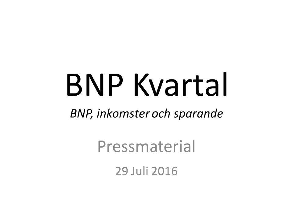 BNP Kvartal BNP, inkomster och sparande Pressmaterial 29 Juli 2016