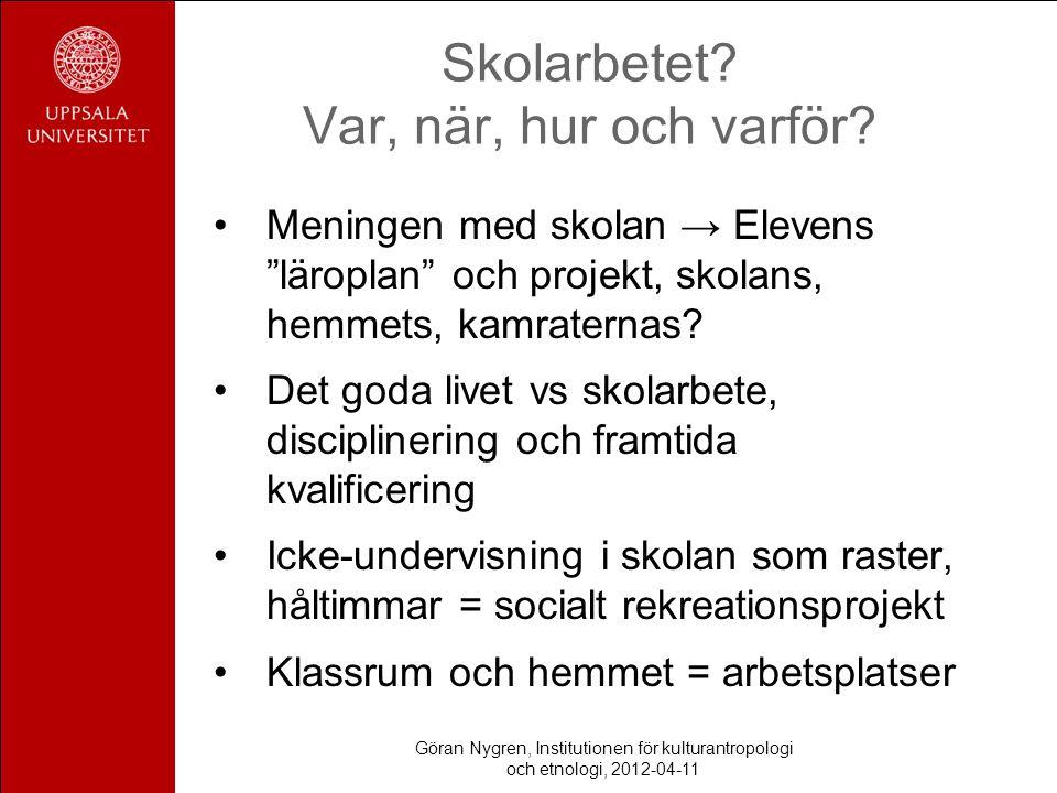 """Skolarbetet? Var, när, hur och varför? Meningen med skolan → Elevens """"läroplan"""" och projekt, skolans, hemmets, kamraternas? Det goda livet vs skolarbe"""