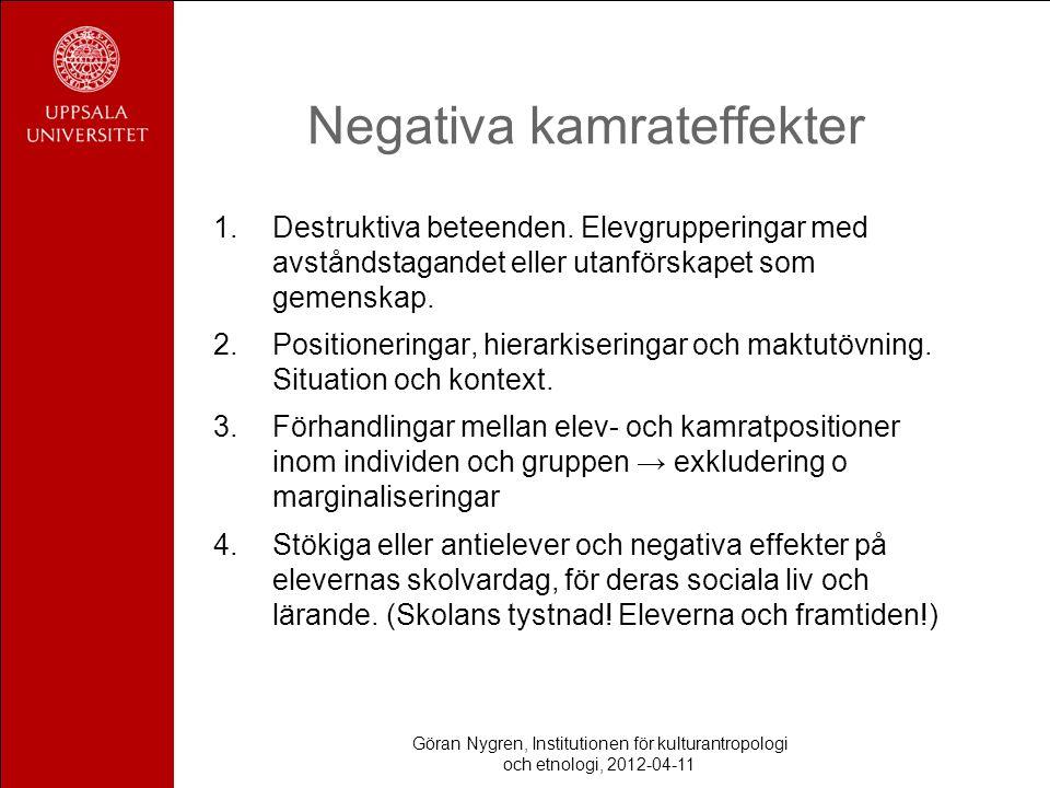 Negativa kamrateffekter 1.Destruktiva beteenden. Elevgrupperingar med avståndstagandet eller utanförskapet som gemenskap. 2.Positioneringar, hierarkis