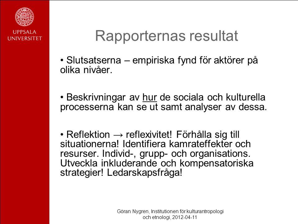 Göran Nygren, Institutionen för kulturantropologi och etnologi, 2012-04-11 Rapporternas resultat Slutsatserna – empiriska fynd för aktörer på olika nivåer.