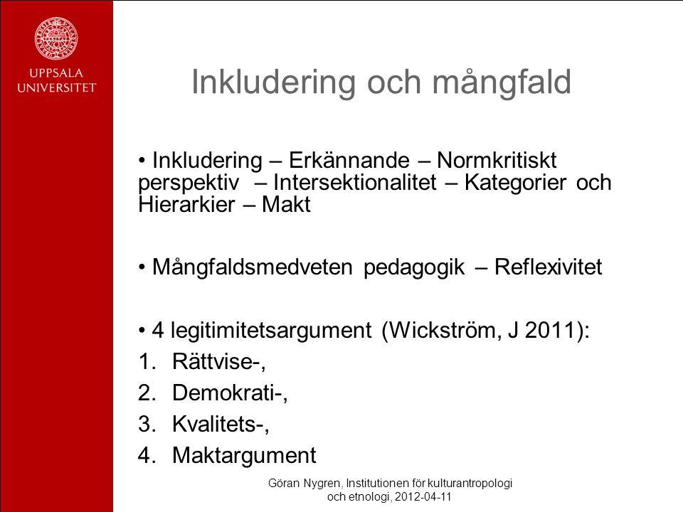 Inkludering och mångfald Inkludering – Erkännande – Normkritiskt perspektiv – Intersektionalitet – Kategorier och Hierarkier – Makt Mångfaldsmedveten pedagogik – Reflexivitet 4 legitimitetsargument (Wickström, J 2011): 1.Rättvise-, 2.Demokrati-, 3.Kvalitets-, 4.Maktargument Göran Nygren, Institutionen för kulturantropologi och etnologi, 2012-04-11